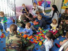 Military mom visiting childcare