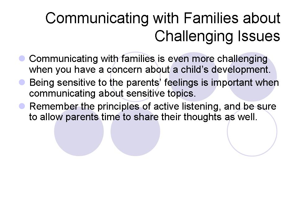 Communicating with Families about Challenging Issues