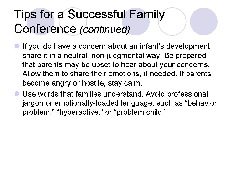 Tips for a Successful Family Conference (continued)
