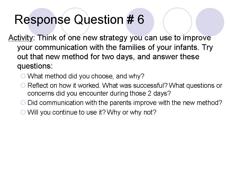 Response Question # 6